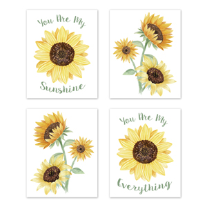 Yellow, Green and White Sunflower Boho Floral Wall Art Prints Room Decor for Baby, Nursery, Kids