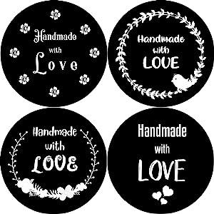 Monochromatic Handmade with Love stickers