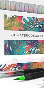 Set of 20 Watercolor Brush Pens