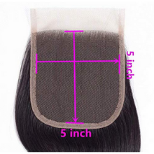 100g 1b natural black human hair straight wave bundles with closure 5*5 closure 1b stw
