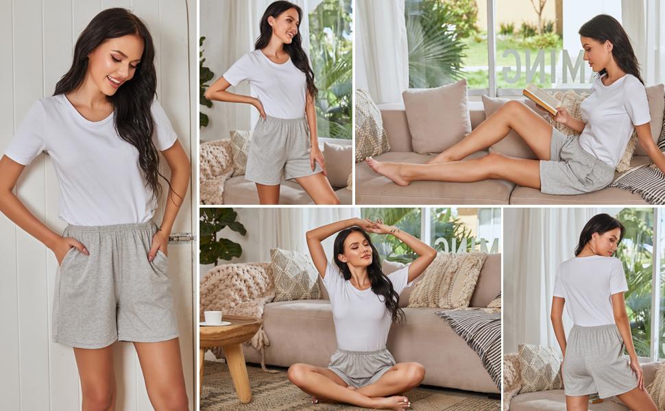womens soft elastic waistband shorts lounge pants