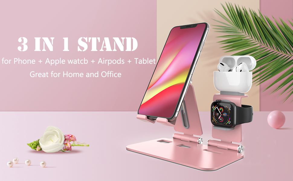 3 in 1 stand flipstick phone stand rose gold ipad stand holders for desk  for  iWatch AirPod iPhone