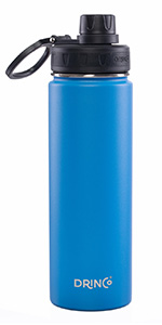 Drinco Vacuum Insulated Stainless Steel Water Bottle Spout Lid, Wide Mouth, Leak Proof, Powder Coate