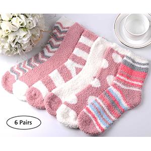 6 pairs pink slipper socks