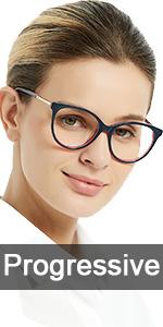 oval Progressive Multifocus Women Reading Glasses Anti Blue Light Reader Spring Hinges