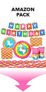 Silver Lining Rainbow Unicorn Amazon Pack Paper Plates Cups Napkins and Table Cover LGBTQ