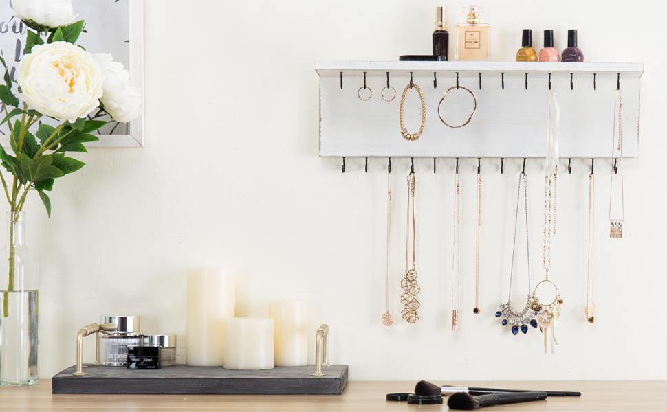 white 26 hook jewelry organizer holder hanger