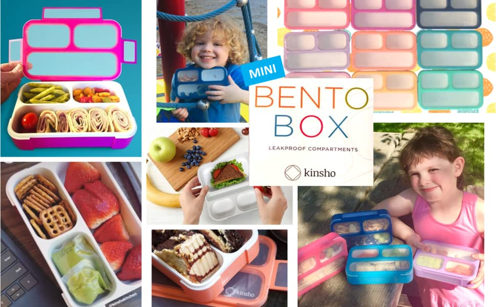 kinsho snack containers mini bento box lunch boxes container sets for kids toddlers children adults
