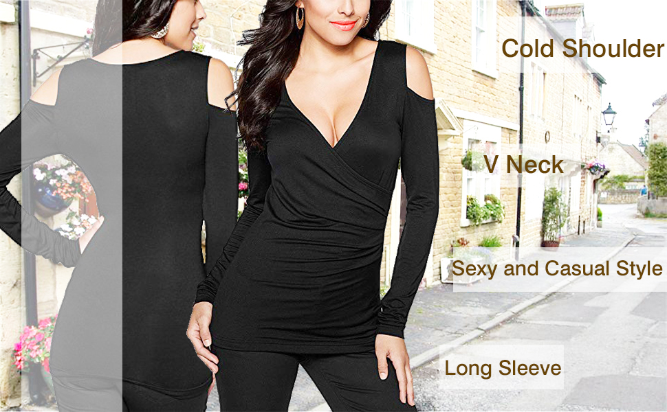 Women's Long Sleeve Sexy Blouse Deep V Neck Casual Bodycon Tee Shirts Tops