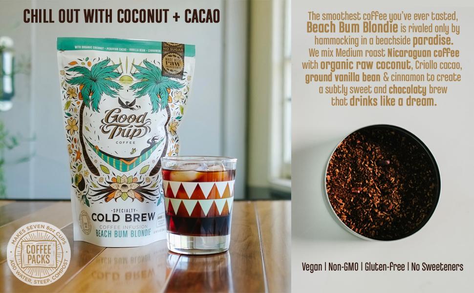 beach bum blondie good trip coffee organic coconut cold brew arabica nitrogen pressed medium roast