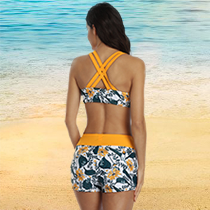 3 piece tankini swimsuits for women yellow