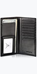 HISCOW Slim Long Wallet with 9 Credit Card Slots - Italian Calfskin
