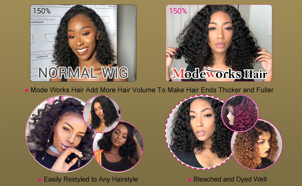 13x6 Lace Front Wigs Human Hair Short Bob Wigs Pre Plucked With Baby Hair Curly Brazilian Hair Wigs