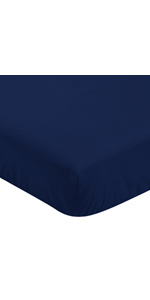Solid Navy Blue Baby or Toddler Fitted Crib Sheet for Baseball Patch Sports Collection