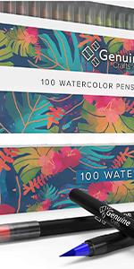 set of 100 watercolor brush pens