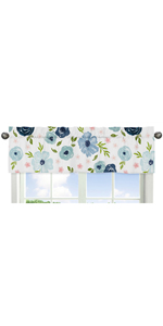 Navy Blue and Pink Watercolor Floral Window Treatment Valance - Blush, Green and White Shabby Chic