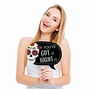 Funny Day of the Dead - Halloween Sugar Skull Party Photo Booth Props Kit