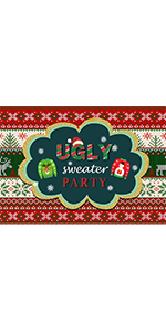 Ugly Sweater Party Photography Backdrop Supplies Vinyl Photo 5x3ft Red Winter
