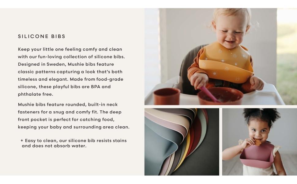 mushie silicone bibs baby food catcher