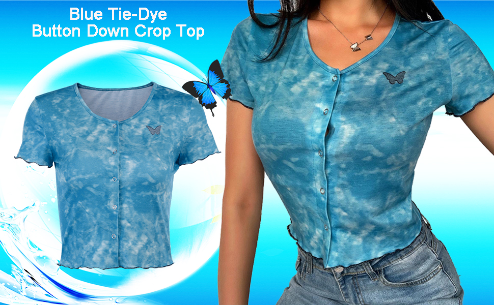 Blue tie dye crop top button down tee top button up blouse top slim fit cropped top