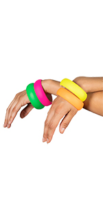 neon bangles bracelets 80s1980s costume soft touch party accessory