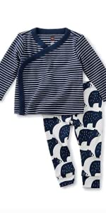 Tea Collection Wrap Top Baby Outfit Indigo Navy/White Stripe Top with Bear Pants