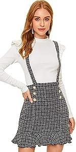 Mid Waist Plaid Button Decoration Suspender Skirt