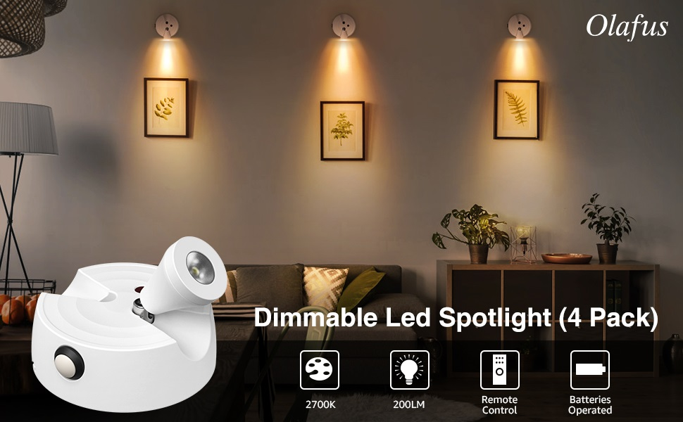 Dimm 400LM Accent Lights Battery Operated Olafus 2 Pack LED Wireless Spotlight
