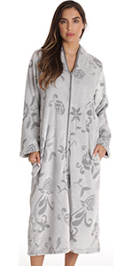 zip front lounger robe for women duster housecoat pajama loungewear floral jaquard