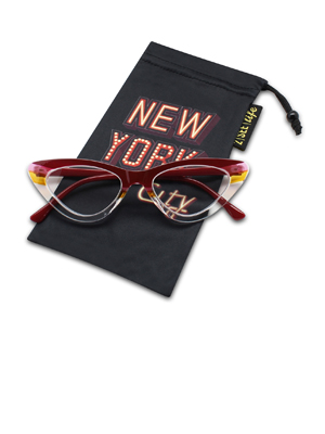 horn rimmed clear frame cat eye reading glasses color block plastic frame red pink yellow crystal