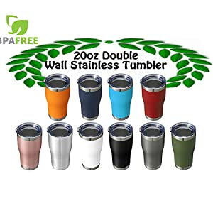 Multi-Color Easy Grip Insulated Stainless 20oz Coffee Travel Mugs Tumblers Double Wall Rose Gold