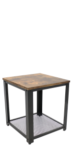 Sunnydaze Industrial Square Side Table