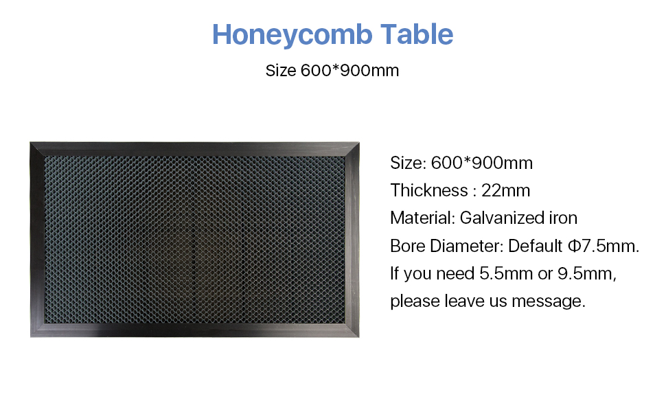 Cloudray Honeycomb Work Table 600*900mm Bore Dia:5.5 7.5 9.5mm for DIY CO2 Laser Engraver