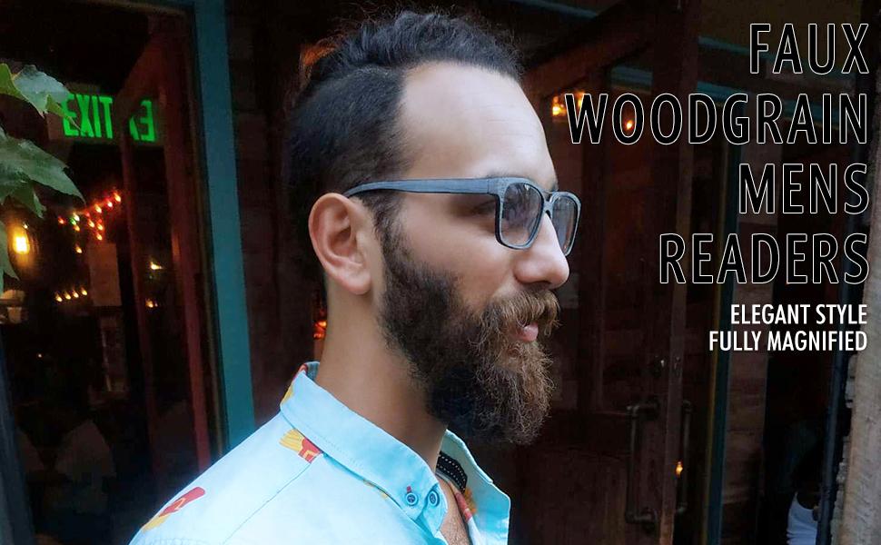 wood grain eyeglasses with metal top bar in royal gray on male model