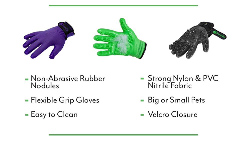 non abrasive rubber nodules big or small pets easy to clean flexible grip gloves