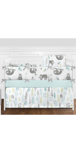 Blue and Grey Jungle Sloth Leaf Baby Unisex Boy or Girl Nursery Crib Bedding Set with Bumper