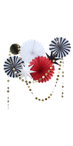 Red White Black Paper Fans Decoration