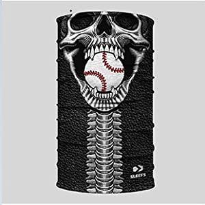 Sleefs Neck Gaiter Face Covering Skull with a Baseball