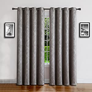 evelyn curtains blackout panel pair insulated thermal embossed darkening drape swag textured flower