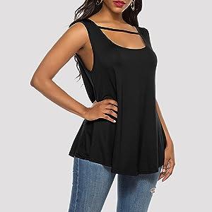 AKEWEI Womens Sleeveless Flowy T-Shirt Tunic Tops Swing Blouse Shirts