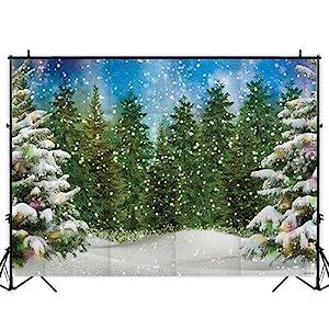 Funnytree thin vinyl xmas tree forest winter backdrop