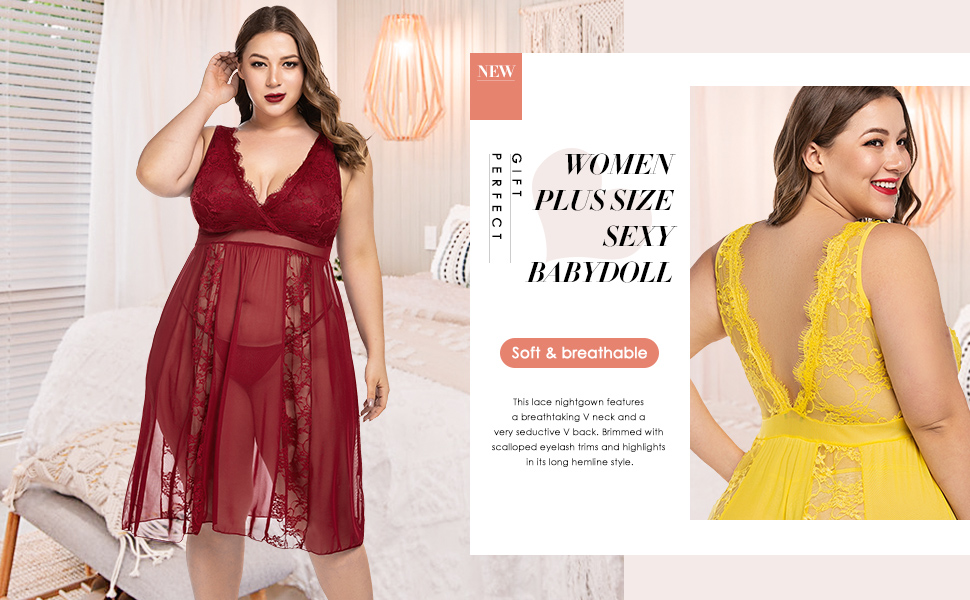 plus size lingerie nightgown