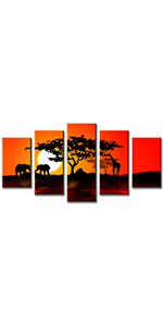 Black red orange sunset sunset shadow poster panel artwork modern print nature