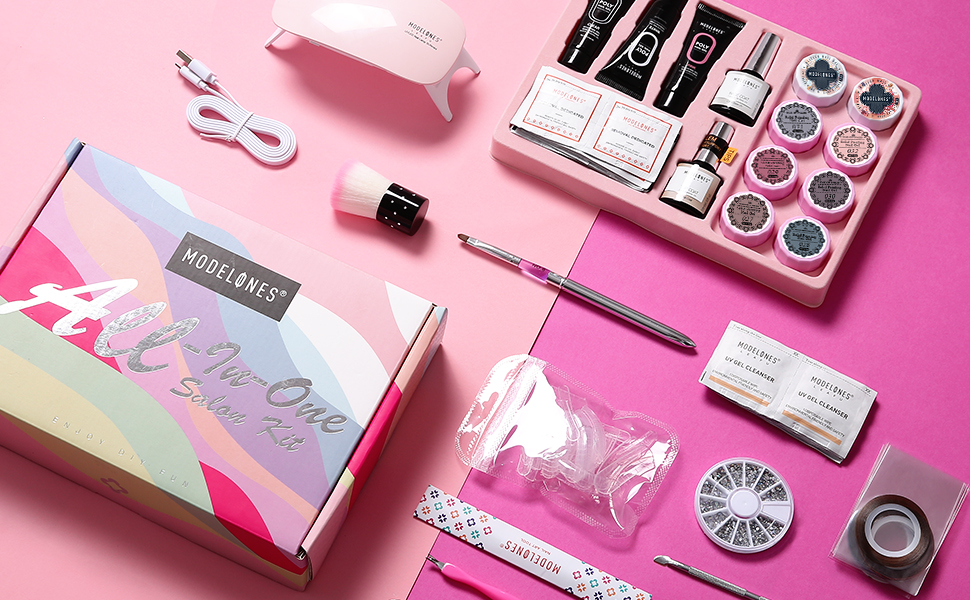 Modelones Gel Nail Polish Starter Kit Poly Nail Gel Kit with UV led light, Nude Gray Pink Series