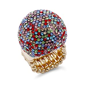 Gold Plated with Multi-Color Stretch Ring