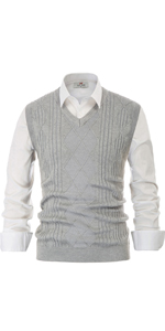 pj mens argyle twist cable sweater vest v neck sleeveless knitted pullover sweater vest for men