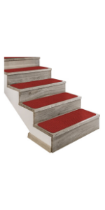 House Home And More Stair Treads Carpet Attachable Steps Safety Pet Friendly Brick Red