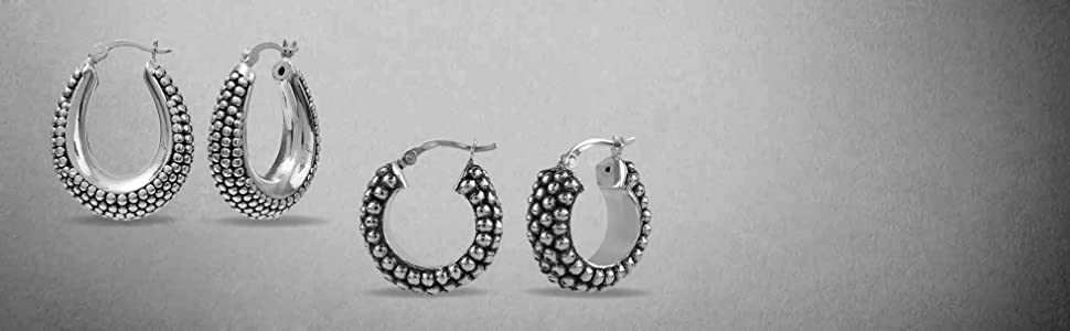 925 Sterling Silver Light-Weight Antique Hoop Earring