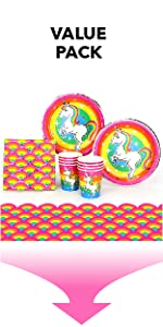 Silver Lining Rainbow Unicorn Value Pack Paper Plates Cups Napkins and Table Cover LGBTQ