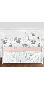 Pink and Grey Jungle Sloth Leaf Baby Girl Nursery Crib Bedding Set with Bumper